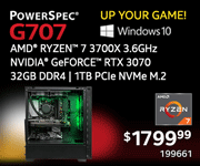 UP YOUR GAME! PowerSpec G707 - $1799.99; AMD Ryzen 7 3700X 3.6GHz, NVIDIA GeForce RTX 3070, 32GB DDR4, 1TB PCIe NVMe M.2 SSD; Windows 10; SKU 199661
