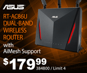 ASUS RT-AC86U Dual-Band Wireless Router with AiMesh Support - $179.99; SKU 384800; Limit 4