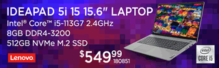 Lenovo IdeaPad 5i 15.6-inch Laptop - $549.99; Intel Core i5-113G7 2.4GHz, 8GB DDR4-3200. 512GB NVMe M.2 SSD; SKU 180851