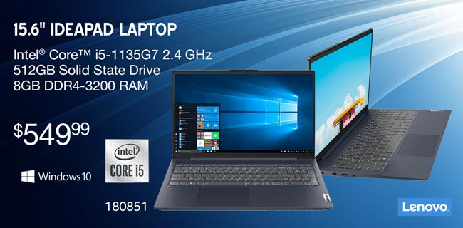 Lenovo 15.6 inch Ideapad Laptop; Intel Core i5 1135G7 2.4GHz; 512GB Solid State Drive; 8GB DDR4-3200 Ram; $549.99; Sku 180851