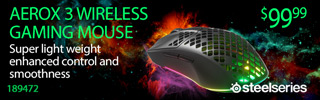 SteelSeries Aerox 3 wireless gaming mouse. Super light weight, enhanced control and smoothness; Sku 189472; $99.99