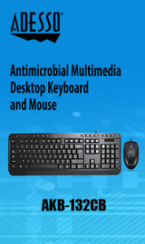 Adesso Antimicrobial Desktop Wired Keyboard and Mouse Combo