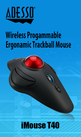 Adesso iMouse T40 Wireless Ergonomic Programmable Trackball
