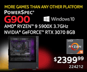 More Games the Any Other Platform - PowerSpec G900 - $2399.99; AMD Ryzen 9 5900X 3.7GHz, NVIDIA GeForce RTX 3070 8GB; Windows 10; SKU 224212