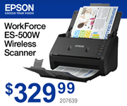 EPSON WorkForce ES-500W Wireless Scanner - $329.99; SKU 207639