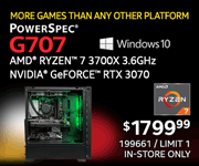 MORE GAMES THAN ANY OTHER PLATFORM - PowerSpec G707 - $1799.99; AMD Ryzen 7 3700X 3.6GHz, NVIDIA GeForce RTX 3070, Windows 10; SKU 199661