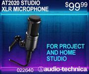 AudioTechnica AT2020 Studio XLR microphone. For project and home studio; $99.99; sku 022640