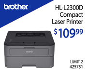 Brother HL-2300D Compact Laser Printer - $109.99; Limit Two; 425751