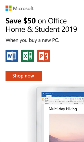 Save $50 on Office Home & Student 2019 this holiday when puchased with a PC.