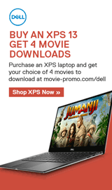 Dell XPS. Purchase an XPS laptop and get your choice of 4 movies to download.