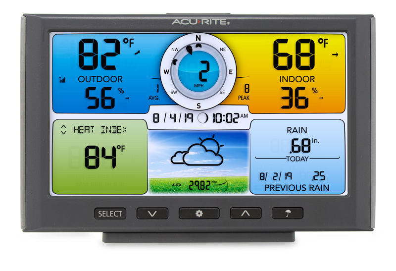 AcuRite 5 in 1 Weather Station Color Display with screen showing outdoor and indoor temperatures, heat index, rain, date and time, and more