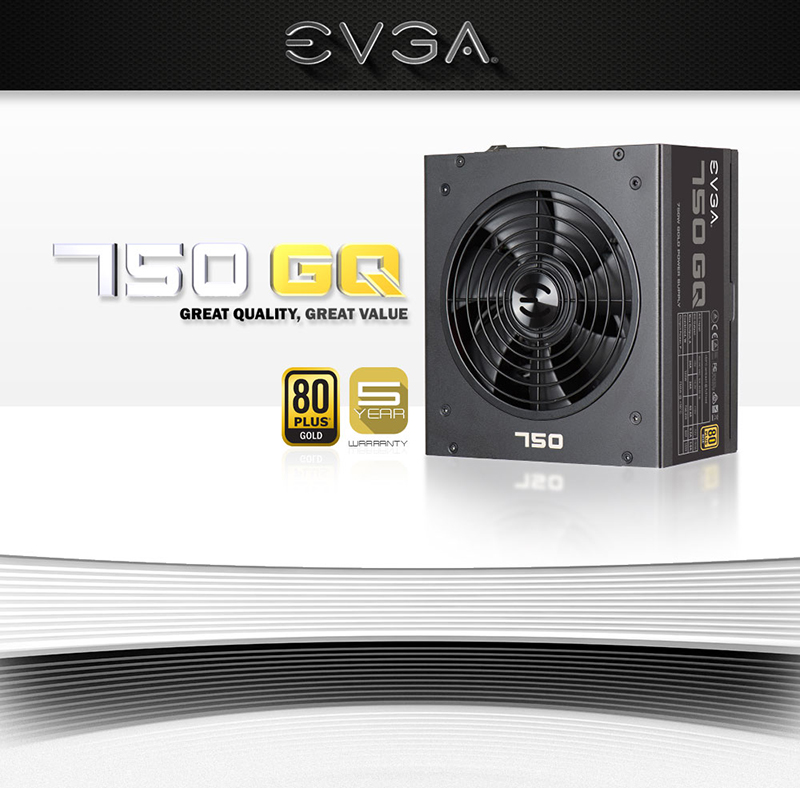 EVGA GQ 750 Watt 80 Plus Gold Semi Modular ATX Power Supply