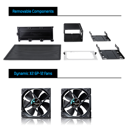 The Meshify C removeable components and dynamic X2 GP-12 fans