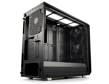 The Meshify S2 case side view showing 3 fans