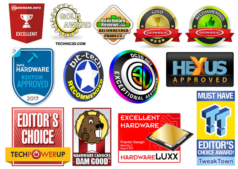 Numerous business logos: Hardware Info: Excellent; Technic3D: Gold award; Benchmark reviews: Recommended product; OCAHOLIC: Gold and Recommended; Toms Hardware: Editor approved 2017; bit-tech: recommended; OC3Dnet: Exceptional Aesthetics; HEXUS: Approved; Tech Powerup: Editor's Choice; Hardware Canucks: Dam Good; HardwareLUXX: Excellent Hardware; TweakTown: Must Have Editor's Choice Award.