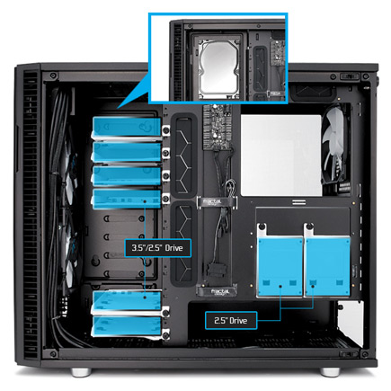 Close up of the Define R6 interior with dimensions showing six modular universal drive trays