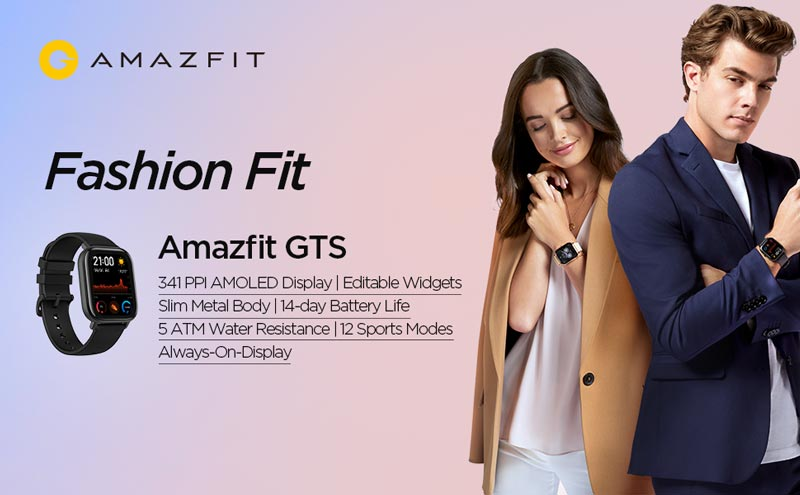 Fashion Fit Amazfit GTS 341 PPI Amoled display, editable widgets, slim metal body, 14-day battery life, 5 ATM water resistance, 12 sports modes, always on display.