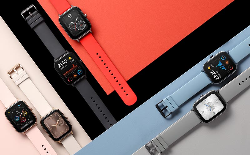Amazfit GTS watches in a variety of colors.