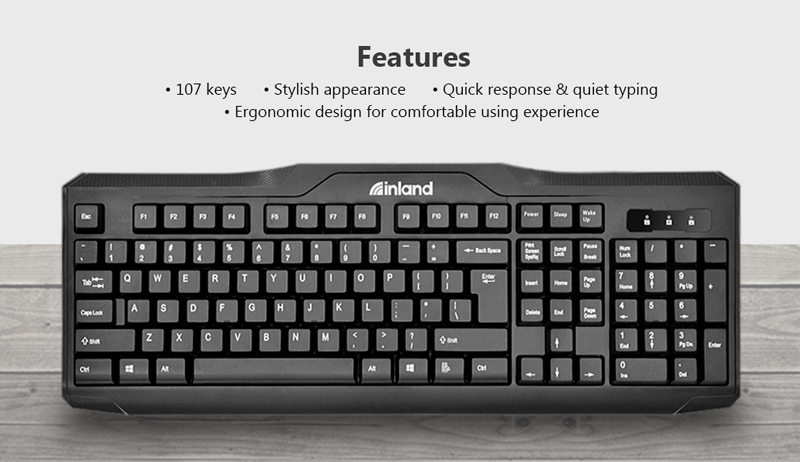 Image of Inland ik100 Keyboard  featuring 107 keys, stylish appearance, quick response and quiet typing, ergonomic design for comfortable experience.
