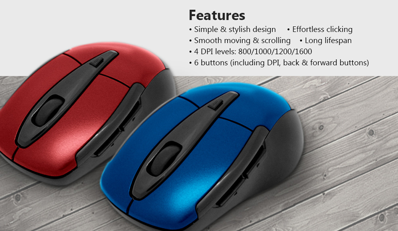 Inland im201 Wireless mouse featuring Simple and stylish design, effortless clicking, smooth moving and scrolling, long lifespan, 4 DPI levels: 800/1000/1200/1600, 6 buttons.
