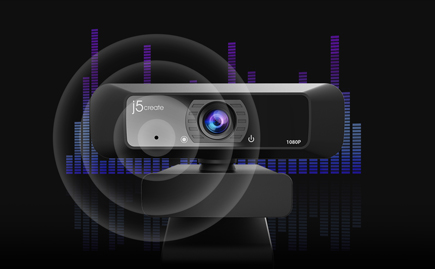 J5Create HD webcam with audio graphic overlay