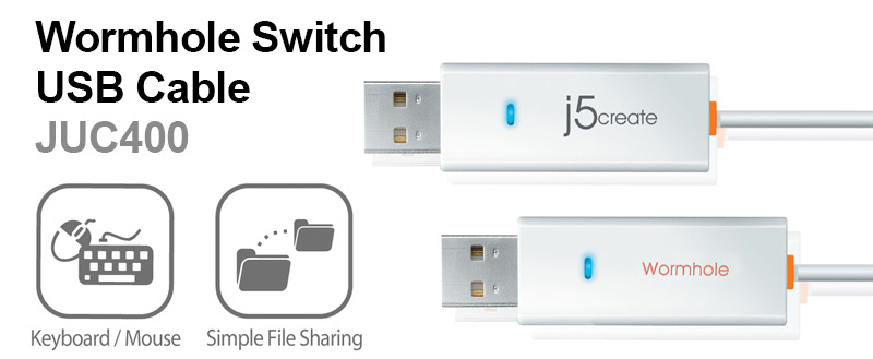 j5create JUC400 Wormhole Switch USB Cable shown with graphics for keyboard/mouse and simple file sharing