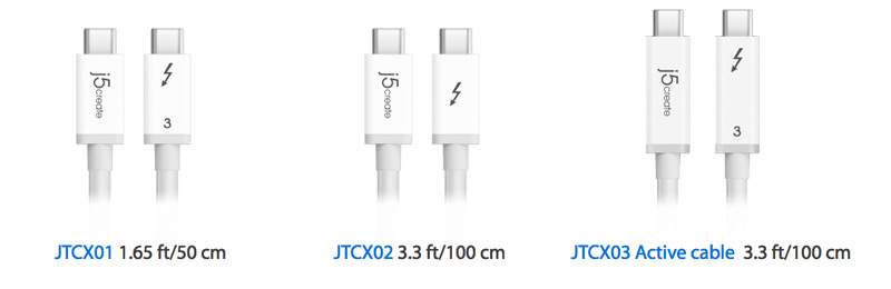 Graphic showing three cables: JTCX01 1.6 5ft, JTCX02 3.3 ft, JTCX03 Active cable 3.3 ft.
