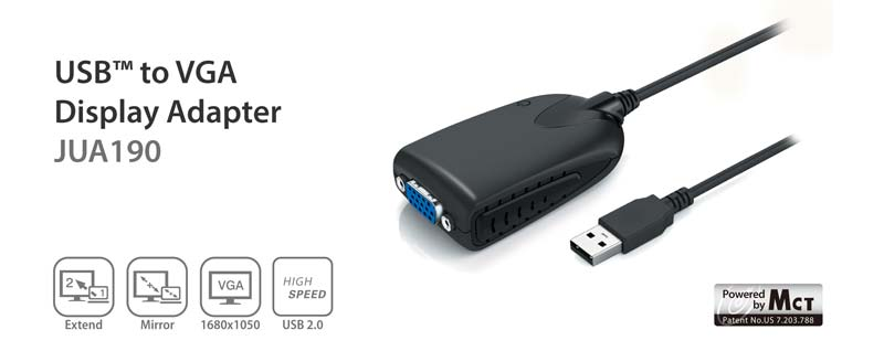 USB to VGA display adapter JUA190