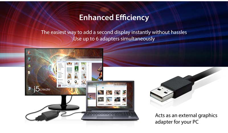Enhanced efficiency: Add a second display instantly