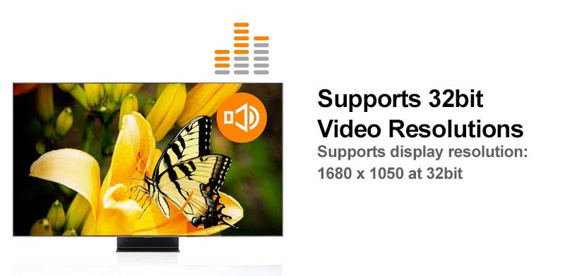 Supports 32bit video resolutions