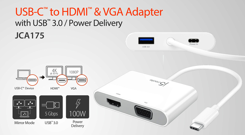 j5create JCA175 USBC to HDMI & VGA Adapter with USB 3.0 power delivery