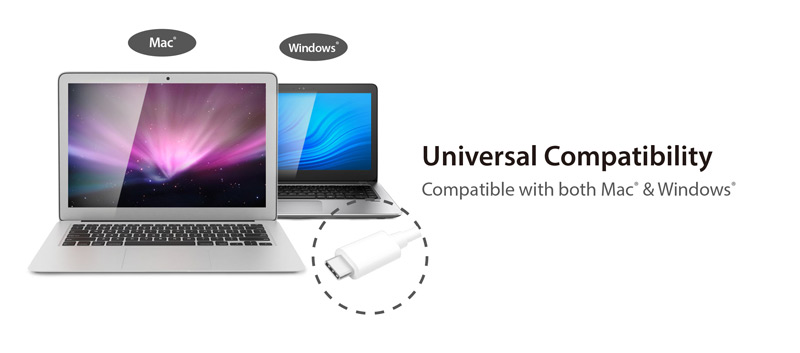Two laptops showing unviversal Compatibility with Mac and windows