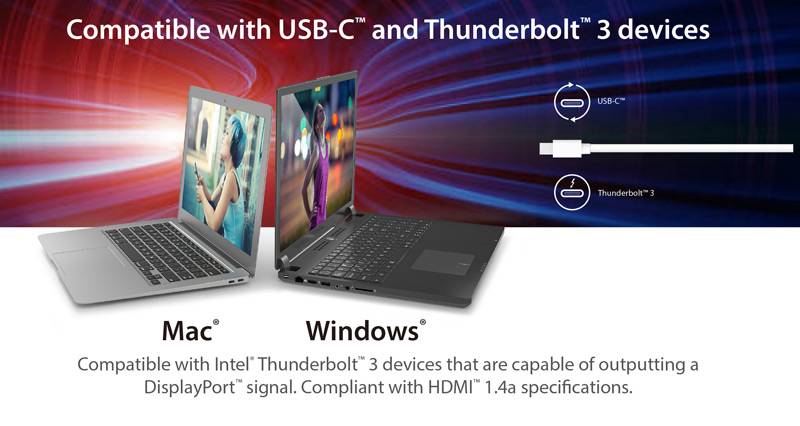Two laptops with the adapter cable showing compatibility with USB-C and Thunderbolt 3 devices.