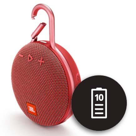 JBL red CLip 3 speaker with 10 hour battery icon