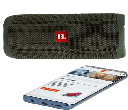 JBL green Flip 5 speaker with smartphone speakerphone display