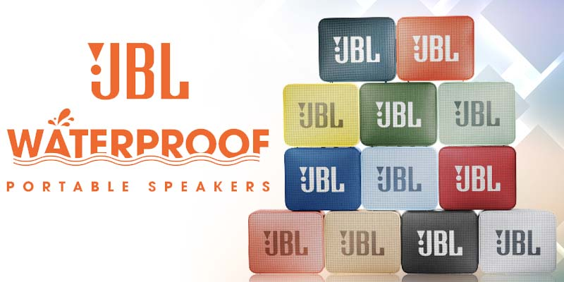 JBL Go2 Waterproof portable speakers in various colors