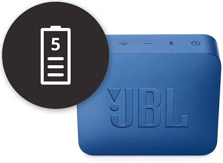 JBL Go2 Blue speaker with 5 hour battery icon