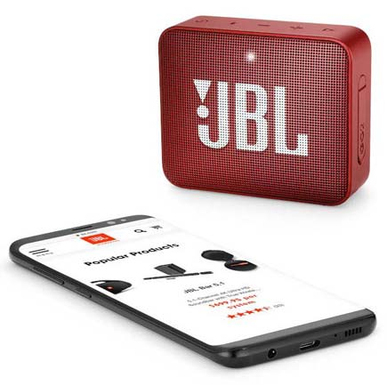 JBL red Go2 speaker with smartphone speakerphone display
