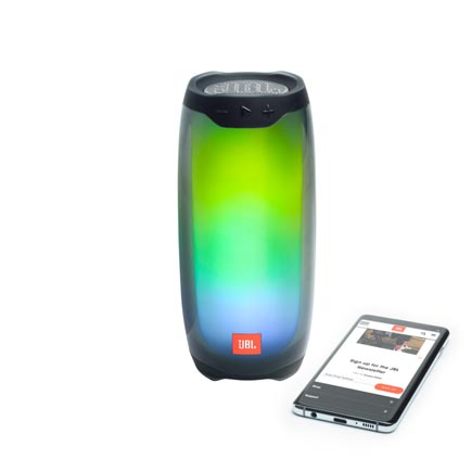 JBL glowing Pulse 4 speaker with smartphone