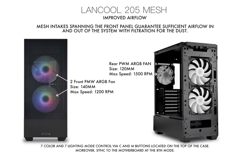LANCOOL 205 Mesh. Improved airflow. Mesh intakes spanning the front panel guarantee sufficient airlflow in and out of the system with filtration for the dust.