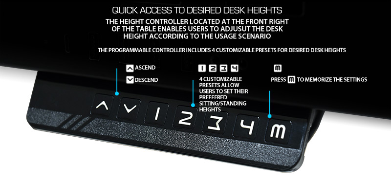 Quick access to desired desk heights with height controller