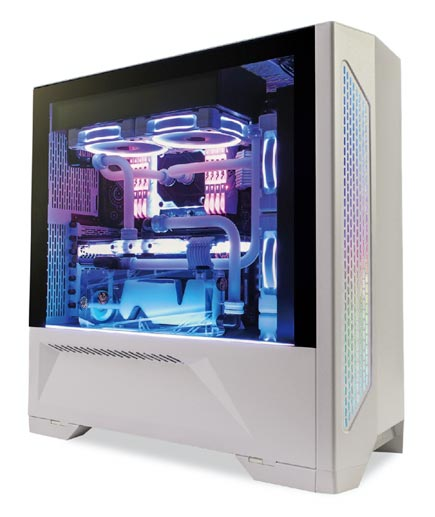 Lancool II white side view lit up