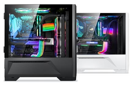 Lancool II black and white side views showing different component configurations lit up