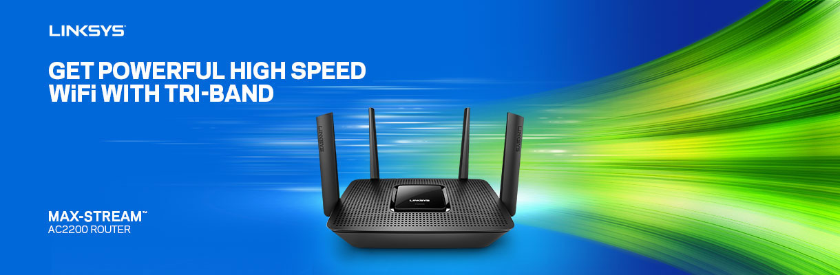 Get Powerful High Speed WIFI with Tri-Band. Linksys Max-Stream Acc2200 Router