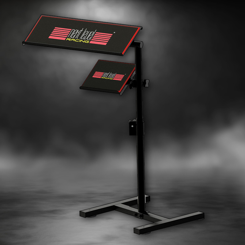 Next Level Racing Free Standing Keyboard and Mouse Stand with a moody red background