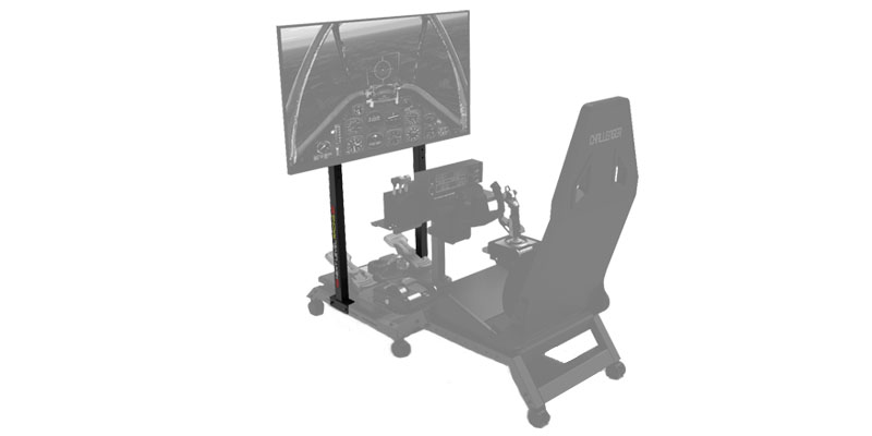Next Level Racing Next Level Racing Monitor Stand shown with monitor displaying flightt scene