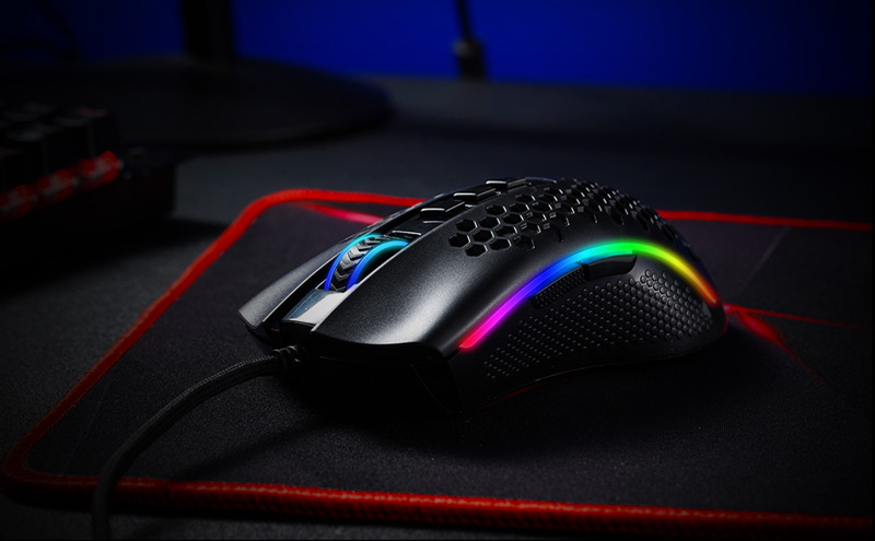 Redragon M808 RGB Storm Honeycomb Gaming Mouse all lit up.