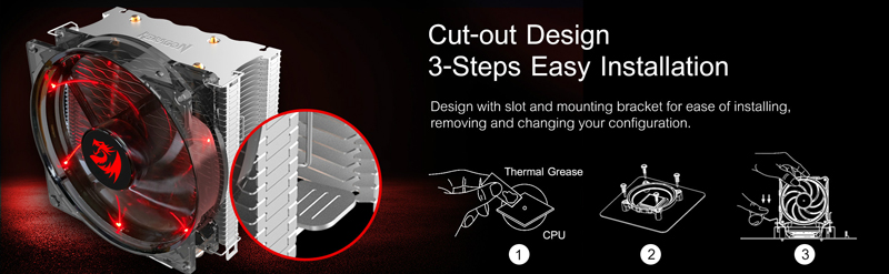Reaver cooler with close up of mounting. Cut out design. 3 easy steps installation