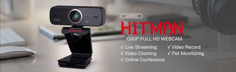 Redragon GW800 Hitman 1080P Full HD Webcam. Live streaming, video chatting, online conference, video record, pet monitoring