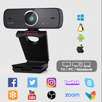 Redragon GW800 Hitman 1080P Full HD Webcam pictured with logos of supported software including Facebook, Twitter, YouTube and several more.